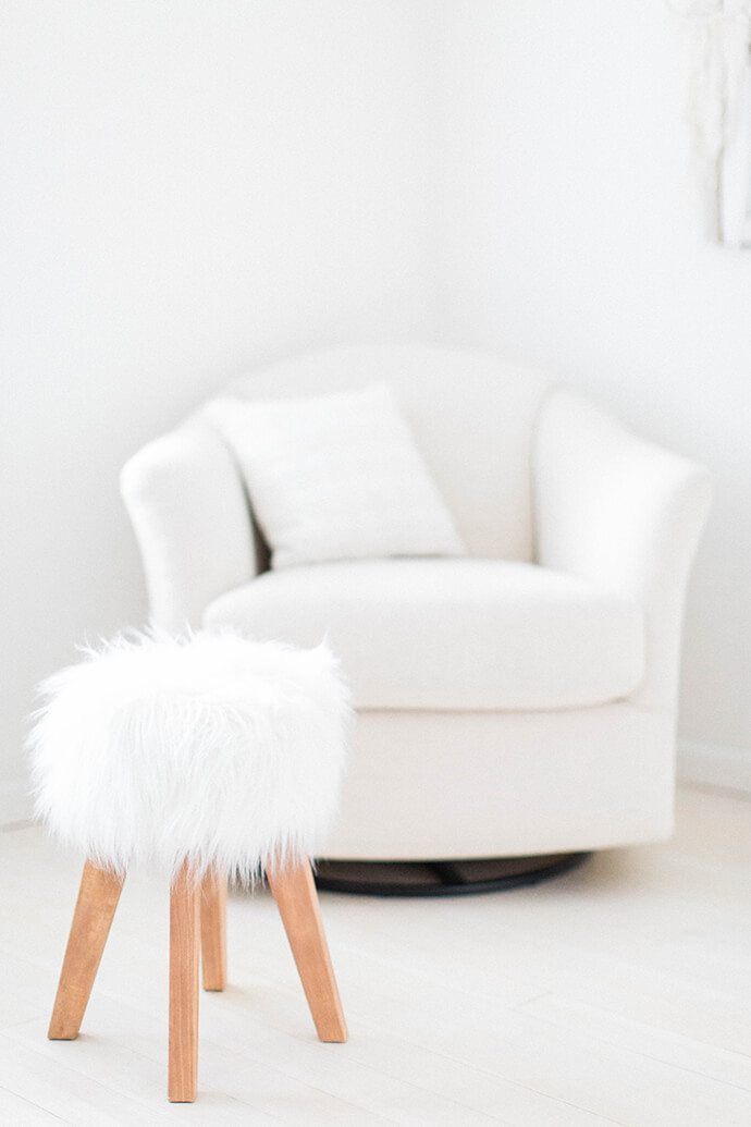faux fur covered stool