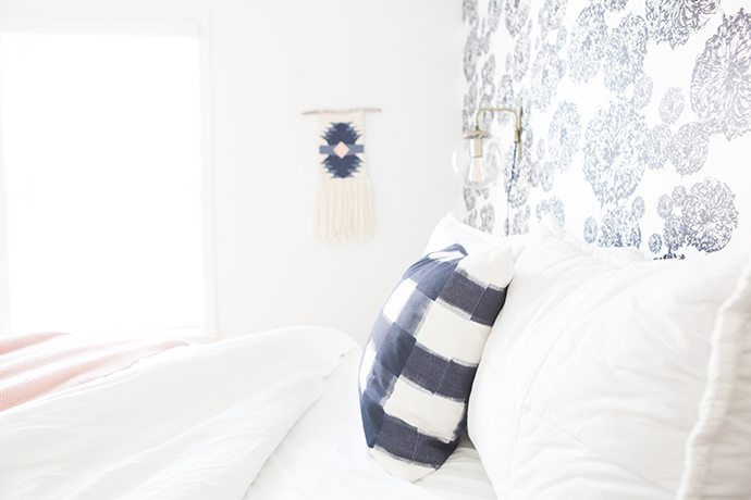 navy and white wall hanging