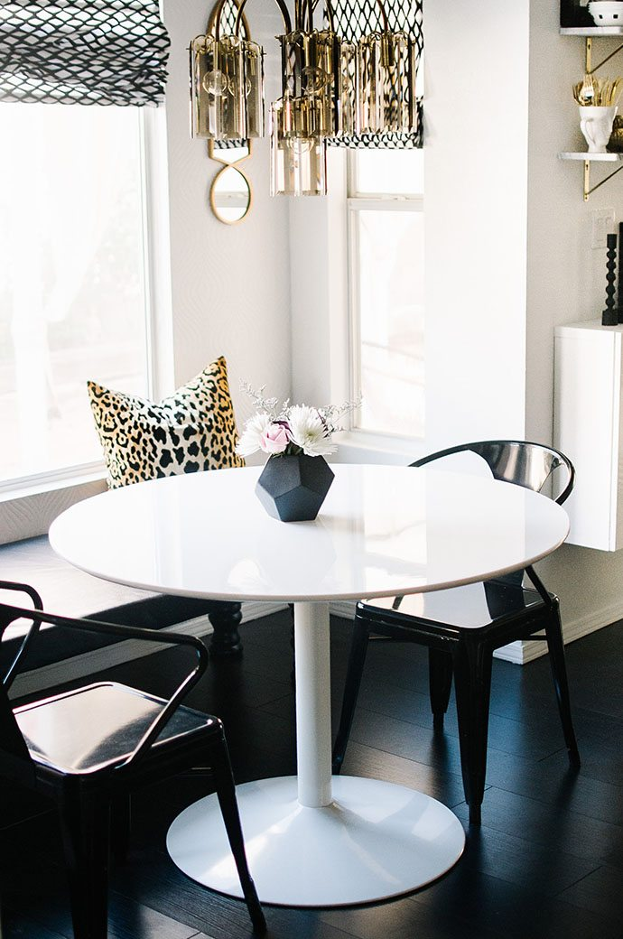 white pedestal table