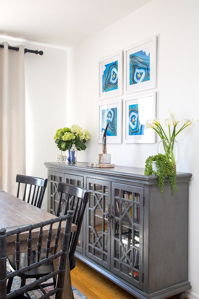 Gray painted dining room buffet
