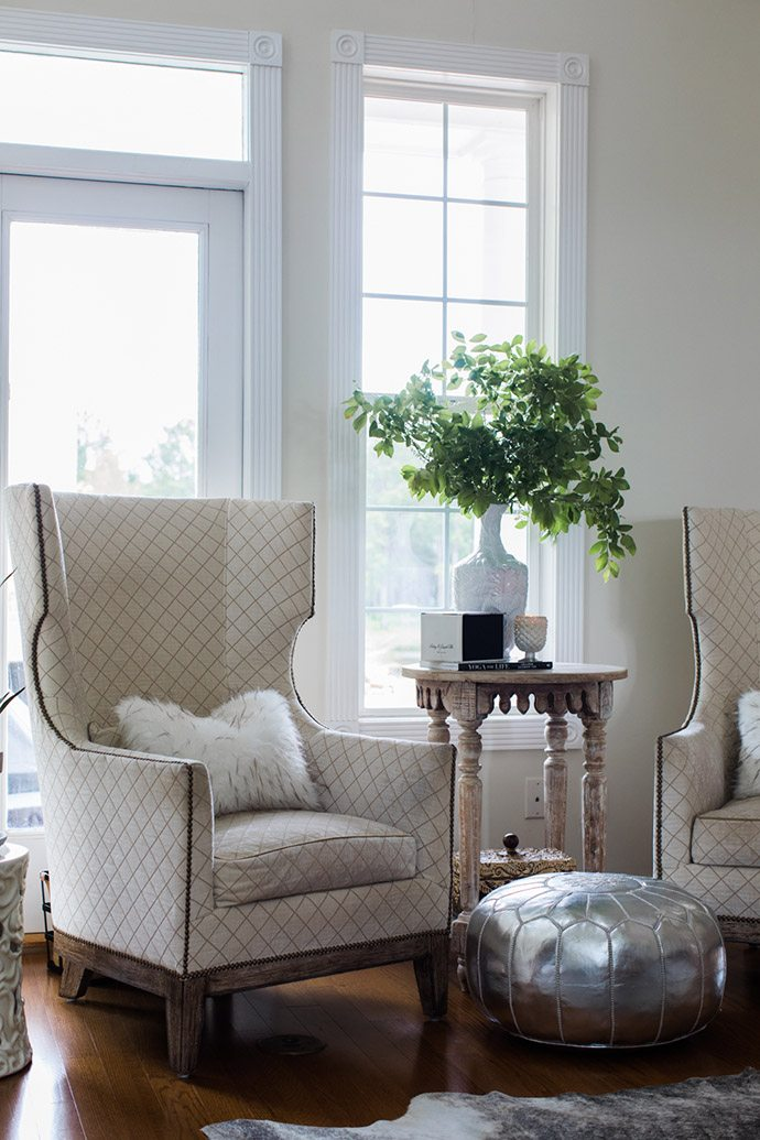 Nailhead trim side chair in the living room
