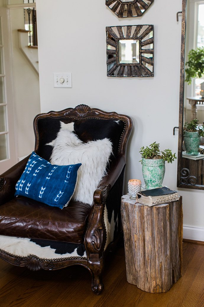 Cow hide upholstered side chair
