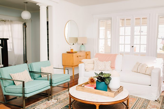Matching teal side chairs